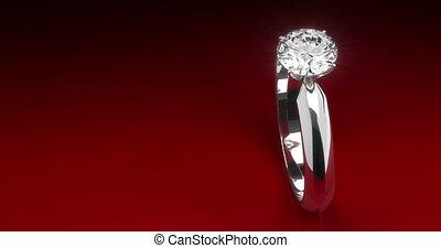 anneau, diamant, arrière-plan rouge