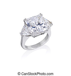 anneau, diamant, fond blanc