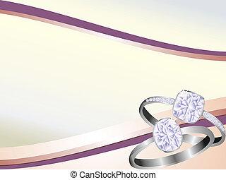 anneau, diamant, fond