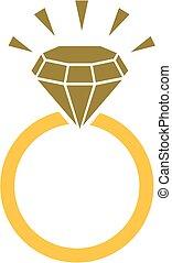 anneau, diamant, icône