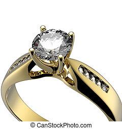 anneau, diamant, mariage