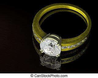 anneau, diamant, or