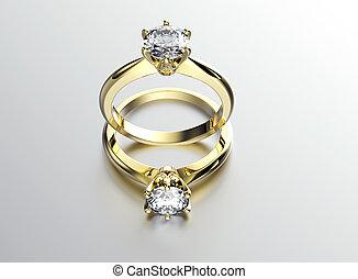 anneau, diamond., fond, bijouterie