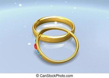 anneau, engagement, bande, mariage
