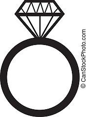 anneau, engagement, diamant