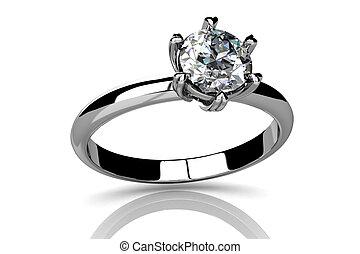 anneau, fond blanc, mariage