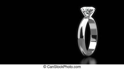 anneau, noir, solitare, fond