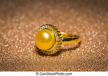 anneau or, perle, jaune