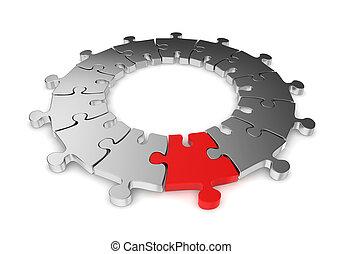 anneau, puzzle, unique, une