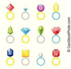 anneau, ring., diamond., mariage