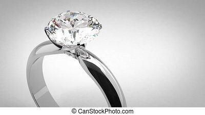 anneau, solitaire diamant