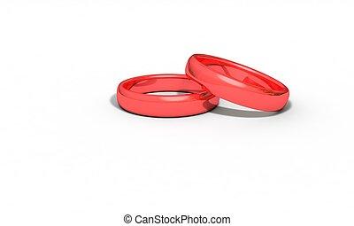 anneau, travail, tridimensionnel, rouges