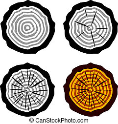 anneaux arbre, symboles, vecteur, croissance, coffre