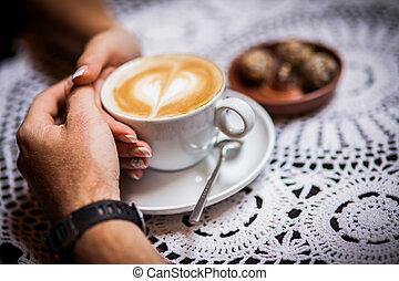 anneaux, cafés, café, mariage