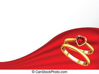 anneaux, carte, or, mariage