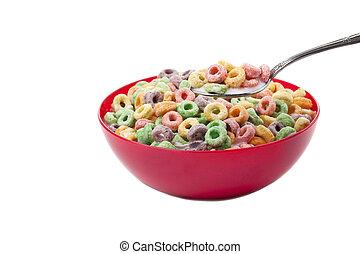 anneaux, coloré, céréale