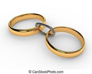 anneaux, connecté, chaîne or, mariage