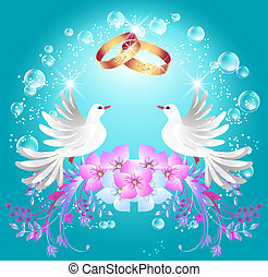 anneaux, deux, colombes, mariage