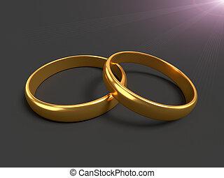anneaux, deux, or, mariage