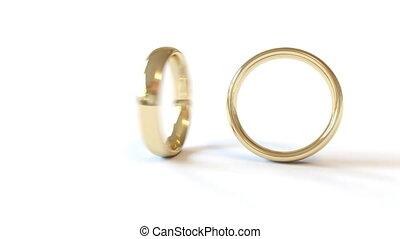 anneaux, deux, une, tourner, combiné, mariage