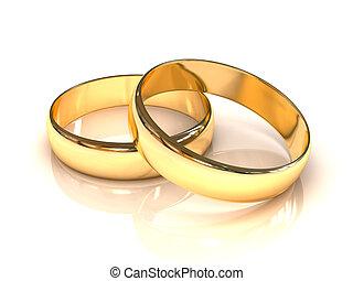 anneaux, doré, mariage