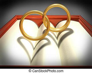 anneaux, enclencher, mariage