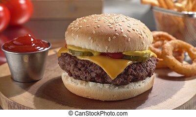anneaux, fries., cheeseburger, francais, oignon