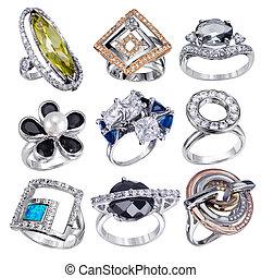 anneaux, gemstones, fond, isolé, blanc