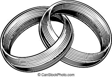 anneaux, graver, style, woodcut, gravé, bandes, mariage