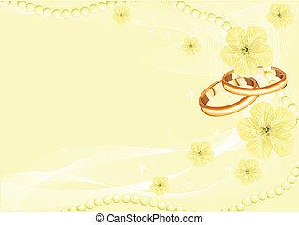 anneaux, jaune, mariage