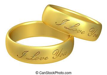 anneaux, mariage, rendre, 3d