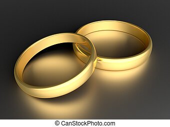 anneaux, or, deux, mariage