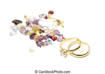 anneaux, or, gemstones