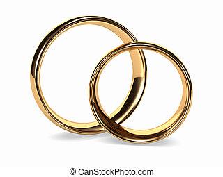 anneaux, or, mariage