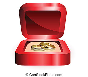 anneaux, paire, or, mariage