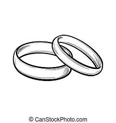 anneaux, palefrenier, mariée, traditionnel, paire, mariage