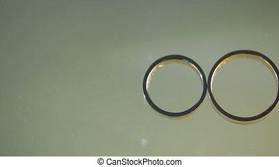 anneaux, pousse, diamon, or, closeup, mariage, macro,...