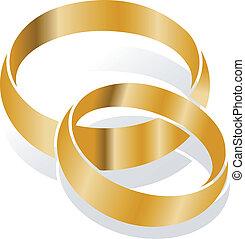 anneaux, vecteur, mariage