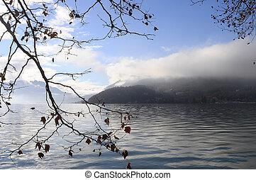 Annec lake on morning, france