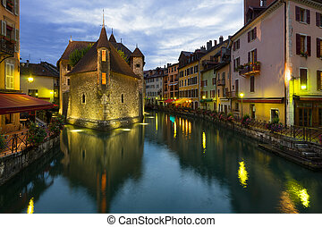 Wonderful view of Annecy at a summer night