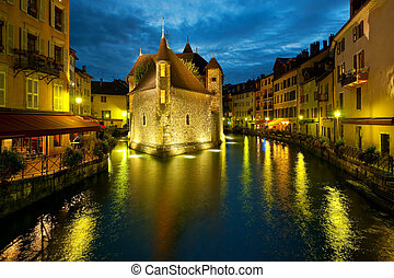 Wonderful view of night Annecy and Palais de l'Isle. GPS information is in the file