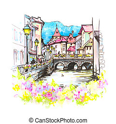 Annecy, called Venice of the Alps, France - Color hand...