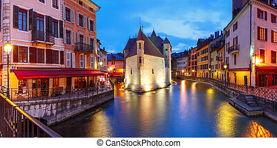 Annecy, called Venice of the Alps, France - Panorama wit the...