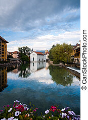 Annecy Canal Historic City Center - A wide canal beautifully...