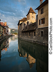 A wonderfully maintained medieval prison in the historic city center of Annecy.