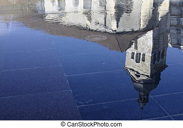 Annecy Church reflection in water in Savoy, France