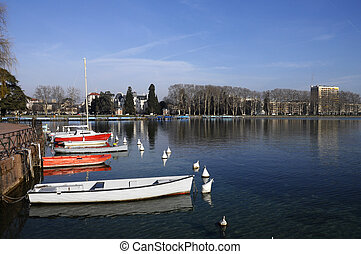 Annecy city and marina, France