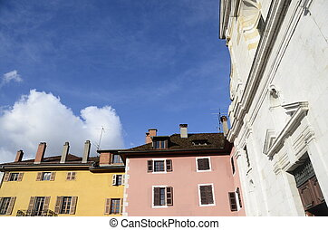 Annecy city, medieval buildings and church