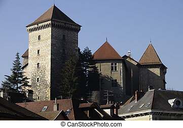 Annecy city medieval castle in Savoy, France