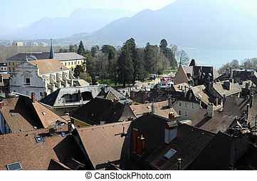Annecy city, roofs, church and lake, Savoy, France